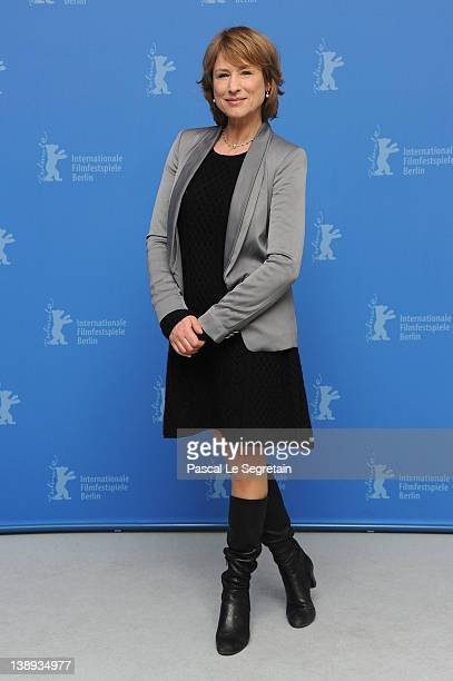 Actress Corinna Harfouch attends the 'Was Bleibt' Photocall during day six of the 62nd Berlin International Film Festival at the Grand Hyatt on...