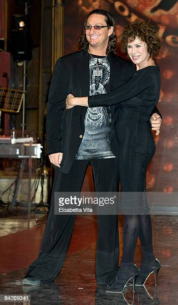 Actress Corinne Clery and dancer Chuck Danza attend photocall of the Italian TV show 'Strictly Come Dancing' on January 8 2009 in Rome Italy