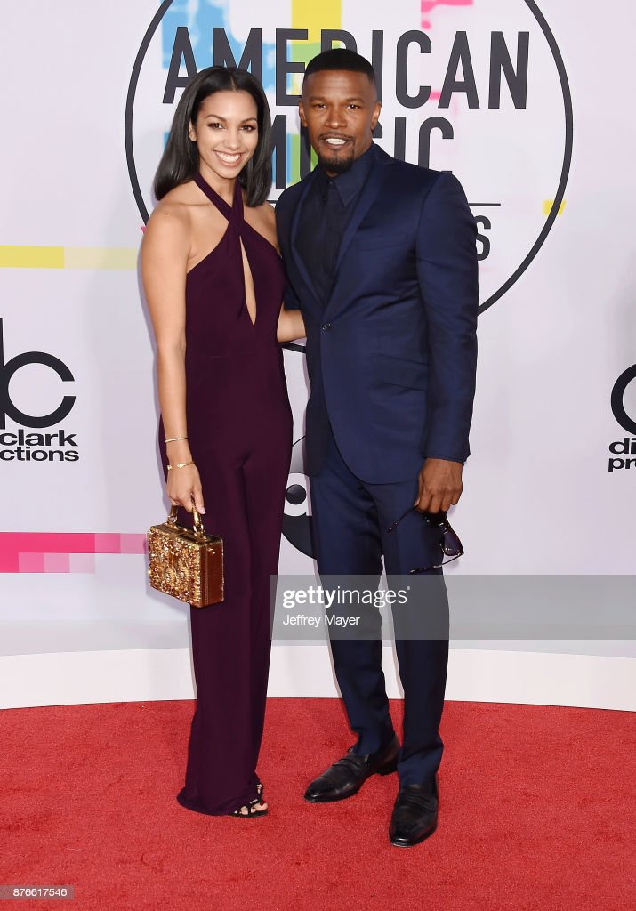 Actress Corinne Foxx (L) and father/actor Jamie Foxx attend the 2017 American Music Awards at Microsoft Theater on November 19, 2017 in Los Angeles, California.