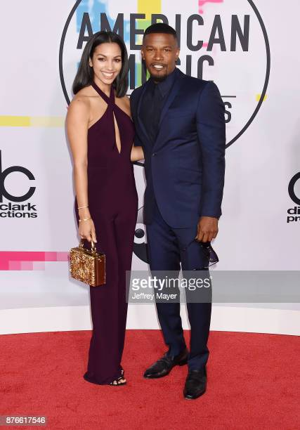 Actress Corinne Foxx and father/actor Jamie Foxx attend the 2017 American Music Awards at Microsoft Theater on November 19 2017 in Los Angeles...