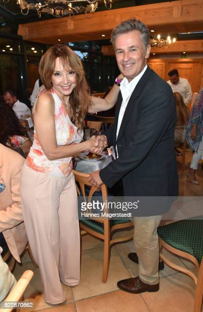 Actress Cornelia Corba and actor Timothy Peach during the 'La Dolce Vita Grillfest' at Gruenwalder Einkehr on July 25 2017 in Munich Germany