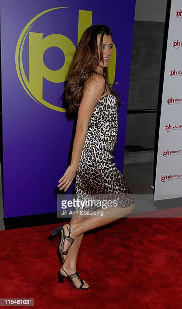 Actress Cote de Pablo arrives at Barbra Streisand's performance at Planet Hollywood Resort Casino Grand Opening Weekend on November 17 2007 in Las...