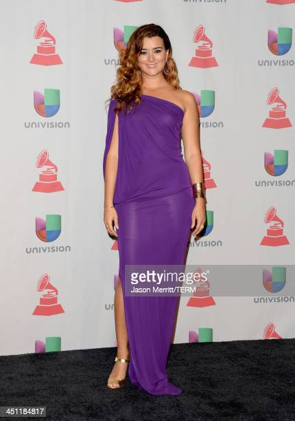 Actress Cote de Pablo poses in the press room at the 14th Annual Latin GRAMMY Awards held at the Mandalay Bay Events Center on November 21 2013 in...