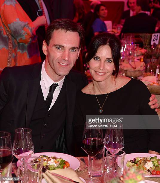 Actress Courteney Cox and Johnny McDaid attend an Evening of Environmental Excellence presented by The UCLA Institute Of The Environment And...