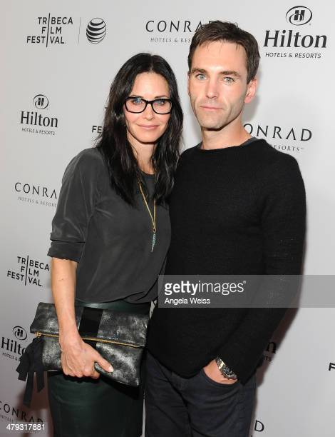 Actress Courteney Cox and recording artist Johnny McDaid arrive at the 2014 Tribeca Film Festival LA Kickoff Reception at The Beverly Hilton Hotel on...