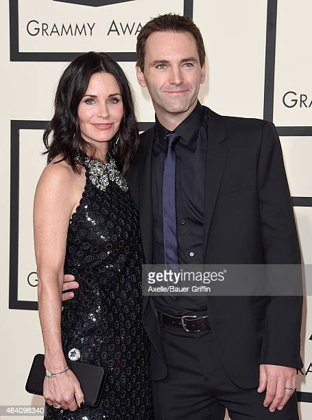 Actress Courteney Cox and songwriter Johnny McDaid arrive at the 57th Annual GRAMMY Awards at Staples Center on February 8 2015 in Los Angeles...
