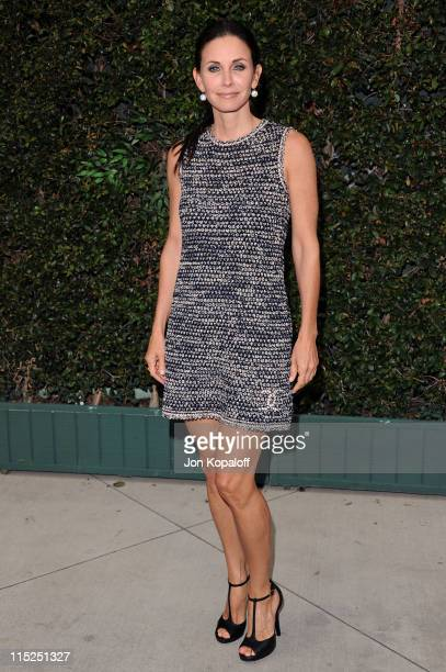 Actress Courteney Cox arrives at Chanel Hosts Benefit Dinner For The Natural Resources Defense Council's Ocean Initiative at a private residence on...