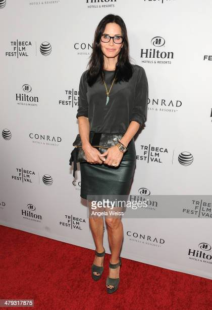 Actress Courteney Cox arrives at the 2014 Tribeca Film Festival LA Kickoff Reception at The Beverly Hilton Hotel on March 17 2014 in Beverly Hills...