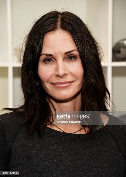 Actress Courteney Cox arrives at the CFDA Soul Cycle Charity Ride in LA benefiting Fashion Targets Breast Cancer at Soul Cycle on November 17 2014 in...