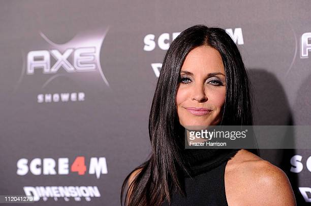 Actress Courteney Cox arrives at the premiere of the Weinstein Company's 'Scream 4' Presented by AXE Shower at Grauman's Chinese Theatre on April 11...