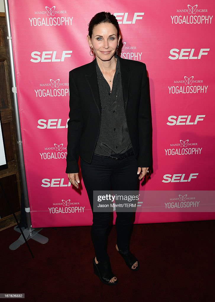 Actress Courteney Cox attends SELF Magazine and Jennifer Aniston's celebration of Mandy Ingber's new book 'Yogalosophy 28 Days to the Ultimate...