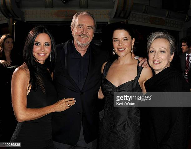 Actress Courteney Cox director Wes Craven actress Neve Campbell and Iya Labunka arrive at the premiere of The Weinstein Company's 'Scream 4'...