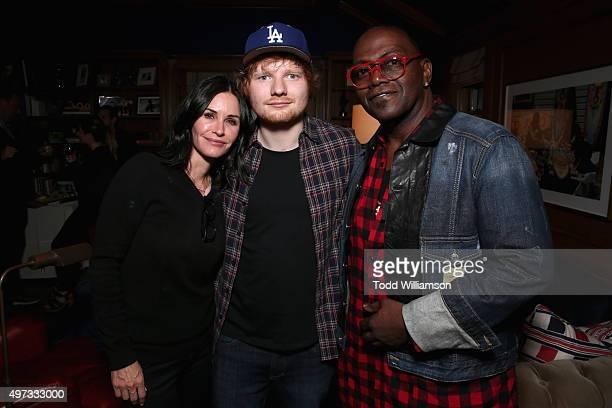 Actress Courteney Cox recording artist Ed Sheeran and producer Randy Jackson attend Rock4EB 2015 with Ed Sheeran and David Spade on November 15 2015...