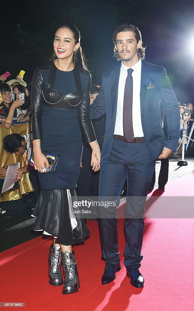 Actress Courtney Eaton and actor Brenton Thwaites attend the premiere for 'Gods Of Egypt' at Tokyo National Museum on August 30 2016 in Tokyo Japan