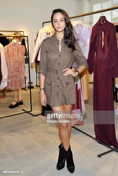 Actress Courtney Eaton attends the opening of the ZIMMERMANN Melrose Place Flagship Store hosted by Nicky and Simone Zimmermann on July 29 2015 in...