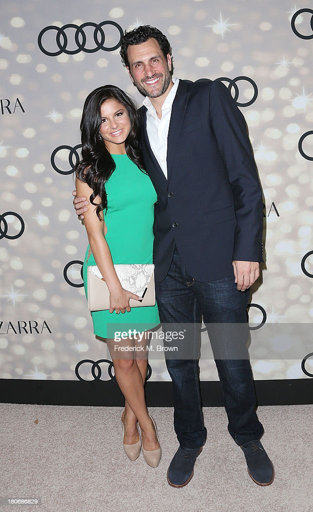 Actress <a gi-track='captionPersonalityLinkClicked' href=/galleries/search?phrase=Courtney+Galiano&family=editorial&specificpeople=5587177 ng-click='$event.stopPropagation()'>Courtney Galiano</a> (L) and actor James LaRosa attend Audi and Altuzarra's Primetime Emmy Awards Week 2013 Kick-Off Party at Cecconi's Restaurant on September 15, 2013 in Los Angeles, California.