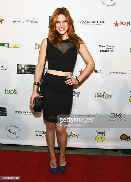 Actress Courtney Hope arrives at the Project Mermaids art exhibition at G2 Art Gallery on October 3 2014 in Venice California