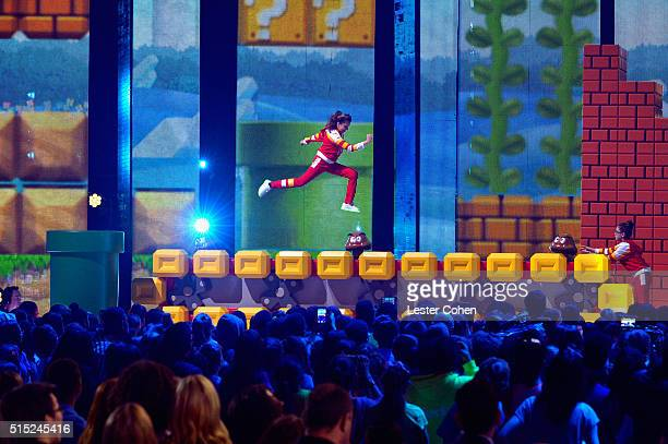 Actress Cree Cicchino flies across the stage during Nickelodeon's 2016 Kids' Choice Awards at The Forum on March 12 2016 in Inglewood California