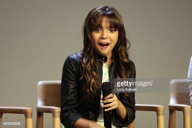 <Actress Cree Cicchino speaks at the event Meet the Cast 'Nickelodeon's Game Shakers' at Apple Store Soho on September 10 2015 in New York City
