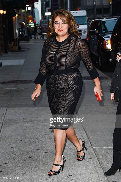 Actress Cristela Alonzo enters the 'Late Show With David Letterman' taping at the Ed Sullivan Theater on December 8 2014 in New York City