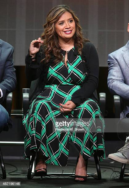 Actress Cristela Alonzo speaks onstage at the 'Cristela' panel during the Disney/ABC Television Group portion of the 2014 Summer Television Critics...