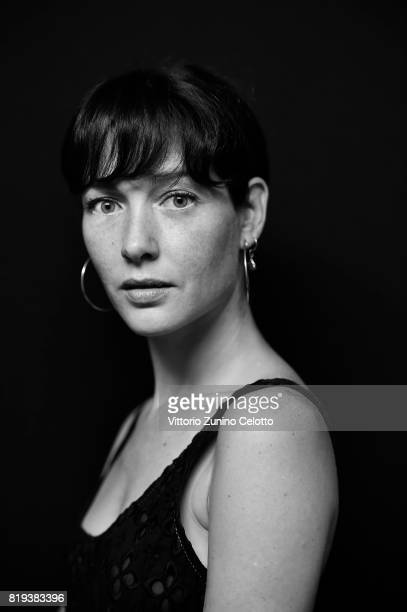 This image has been converted in black and white Actress Cristiana Capotondi poses for a portrait session during Giffoni Film Festival on July 19...