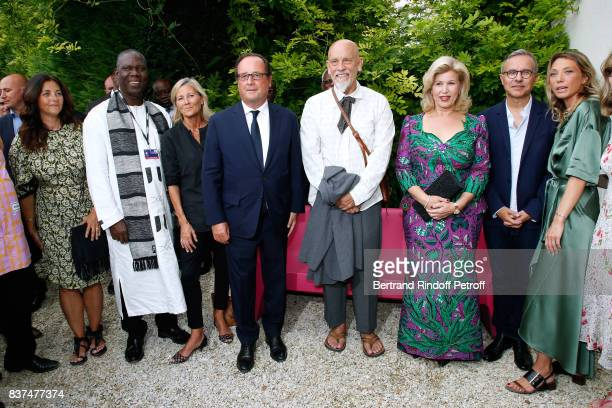 Actress Cristiana Reali Minister of Culture of 'Cote d'Ivoire' Maurice Kouakou Bandaman journalist Claire Chazal Former French President Francois...