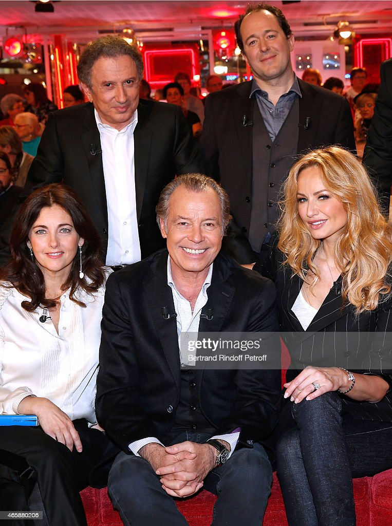 Actress Cristiana Reali, Presenter of the show Michel Drucker, Main guest of the show Humorist Michel Leeb, Humorist Jean-Francois Cayrey and Adriana Karembeu attend the 'Vivement Dimanche' French TV at Pavillon Gabriel on March 11, 2015 in Paris, France.
