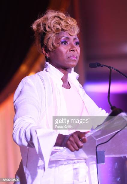 Actress Crystal Fox speaks onstag at 2017 BronzeLens Film Festival Women SuperStars Luncheon at Westin Peachtree Plaza on August 25 2017 in Atlanta...