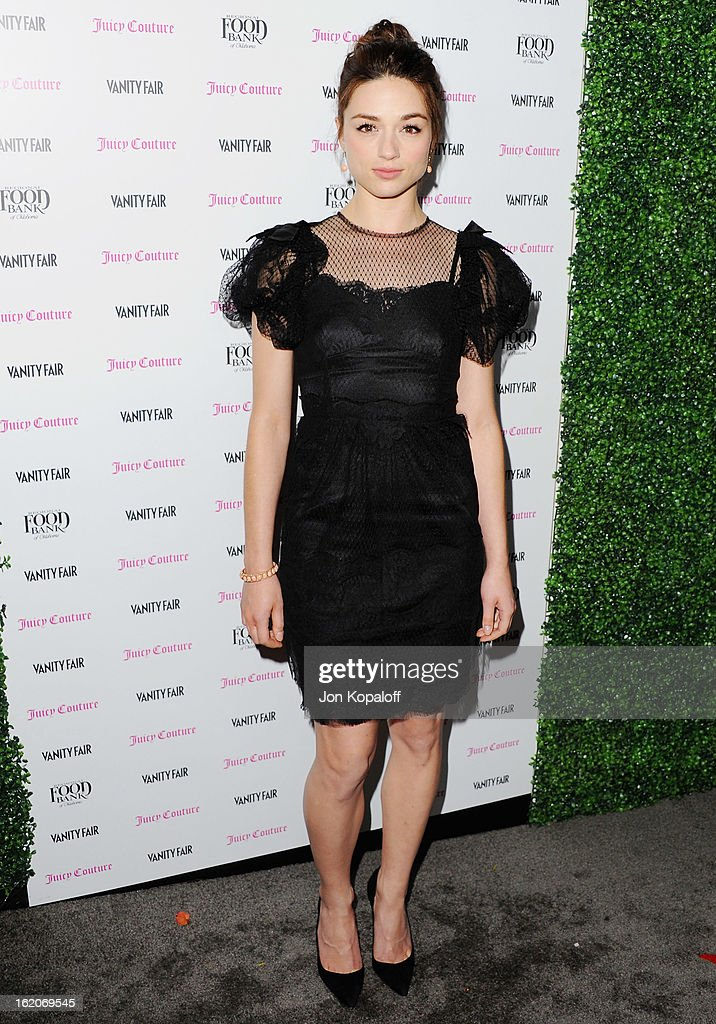 Actress Crystal Reed arrives at the Vanity Fair And Juicy Couture Celebration Of The 2013 Vanities Calendar at Chateau Marmont on February 18, 2013 in Los Angeles, California.
