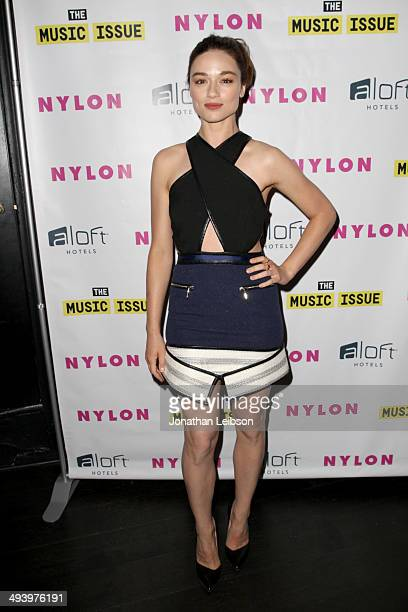 Actress Crystal Reed attends NYLON x Aloft Hotels celebrate The Music Issue with cover star HAIM on May 26 2014 in Los Angeles California