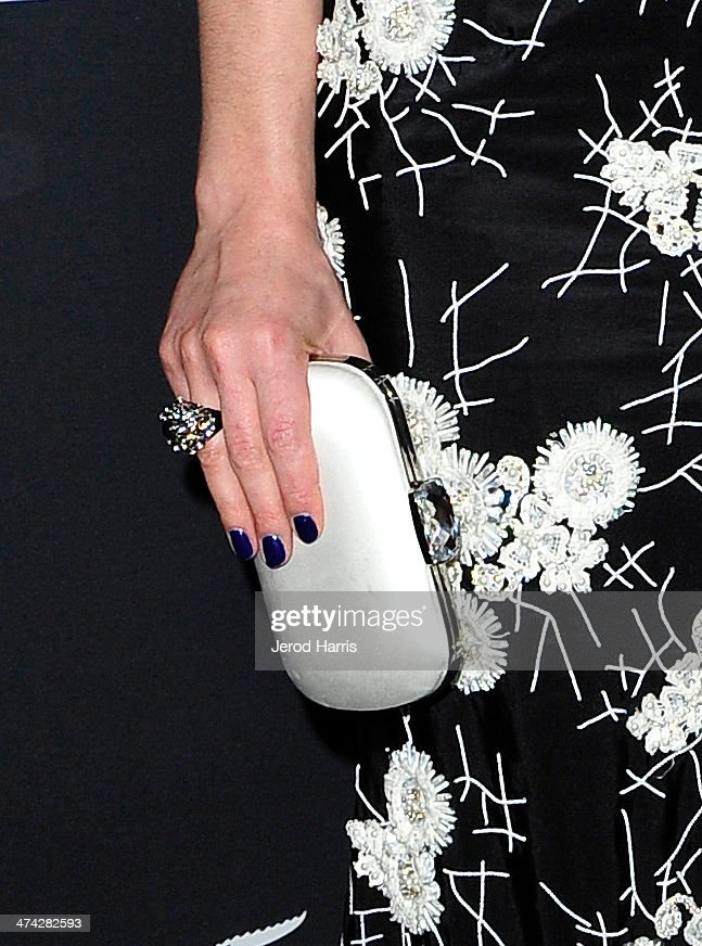 Actress <a gi-track='captionPersonalityLinkClicked' href=/galleries/search?phrase=Crystal+Reed&family=editorial&specificpeople=7115314 ng-click='$event.stopPropagation()'>Crystal Reed</a> (handbag and jewelry detail) attends the 16th Costume Designers Guild Awards with presenting sponsor Lacoste at The Beverly Hilton Hotel on February 22, 2014 in Beverly Hills, California.