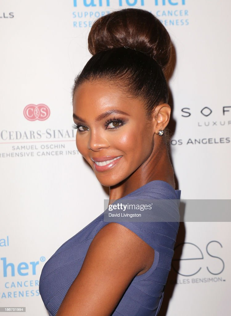 Actress Crystle Stewart attends the Run for Her fundraiser benefiting CedarsSinai's Samuel Oschin Comprehensive Cancer Institute at Sofitel Hotel on...