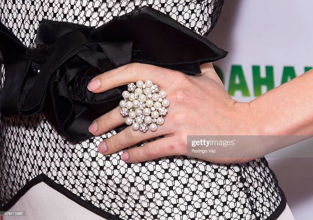 Actress Cynthia Kirchner (jewelry detail) attends The Dream Builders Project 'A Brighter Future For Children' at H.O.M.E. on March 15, 2014 in Beverly Hills, California.