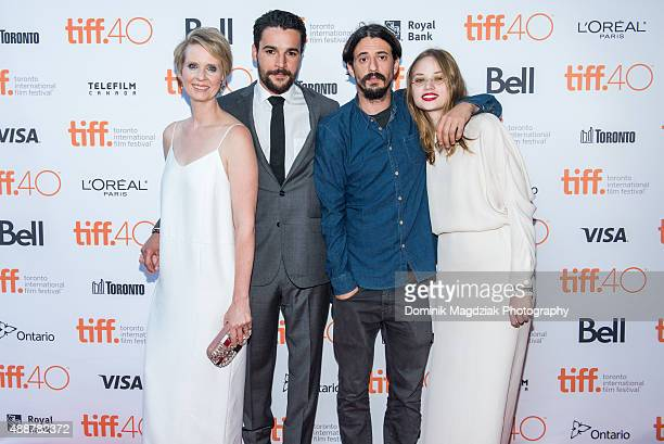 Actress Cynthia Nixon actor Christopher Abbott director Josh Mond and actress Makenzie Leigh attend the 'James White' photo call during the Toronto...