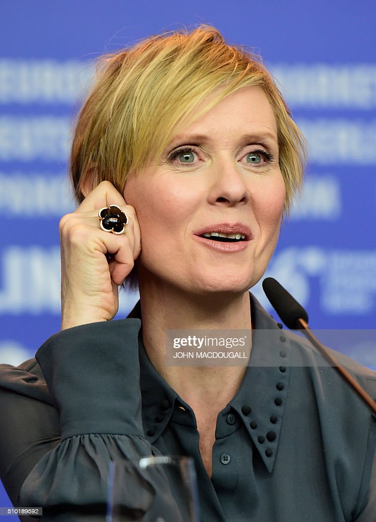 US actress Cynthia Nixon addresses a press conference for the film 'A Quiet Passion' during the 66th Berlinale Film Festival in Berlin on February 14, 2016. / AFP / John MACDOUGALL