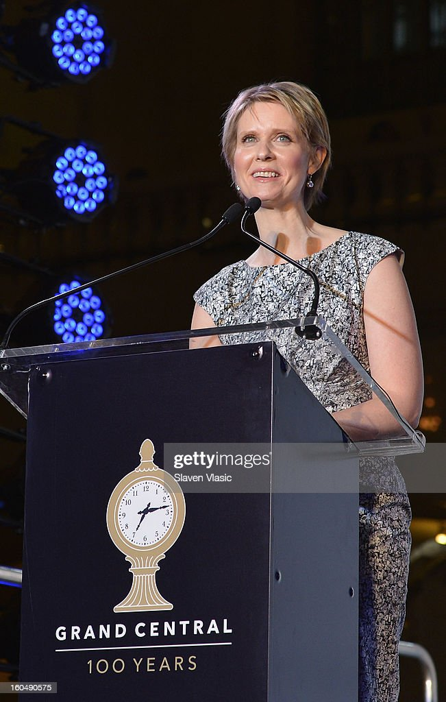 Actress <a gi-track='captionPersonalityLinkClicked' href=/galleries/search?phrase=Cynthia+Nixon&family=editorial&specificpeople=202583 ng-click='$event.stopPropagation()'>Cynthia Nixon</a> attends Grand Central Terminal 100th Anniversary Celebration at Grand Central Terminal on February 1, 2013 in New York City.