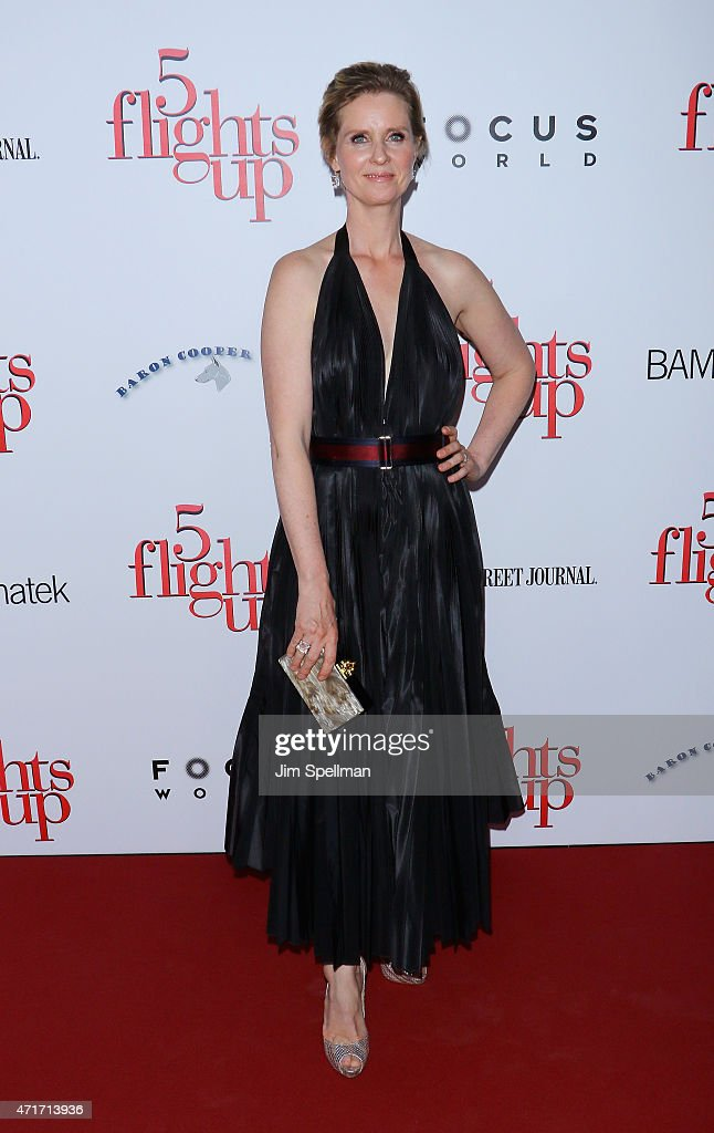 Actress <a gi-track='captionPersonalityLinkClicked' href=/galleries/search?phrase=Cynthia+Nixon&family=editorial&specificpeople=202583 ng-click='$event.stopPropagation()'>Cynthia Nixon</a> attends the '5 Flights Up' New York premiere at BAM Rose Cinemas on April 30, 2015 in the Brooklyn borough of New York City.