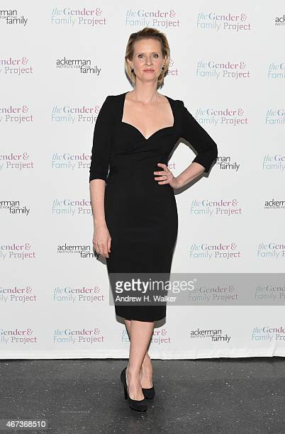Actress Cynthia Nixon attends The Ackerman Institute's Gender Family Project's 'A Night of a Thousand Genders' at Joe's Pub on March 23 2015 in New...