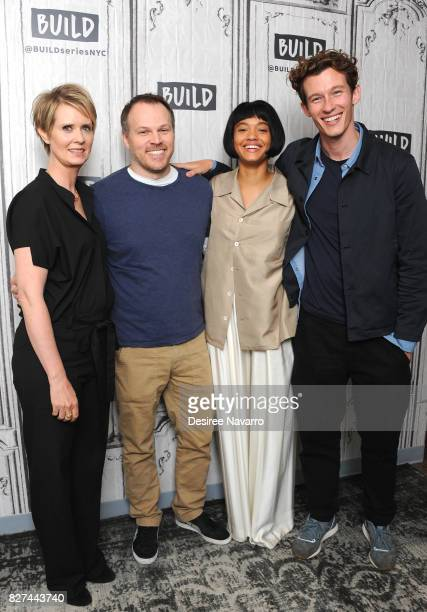 Actress Cynthia Nixon director Mark Webb actors Kiersey Clemons and Callum Turner attend Build the cast of 'The Only Living Boy In New York' at Build...