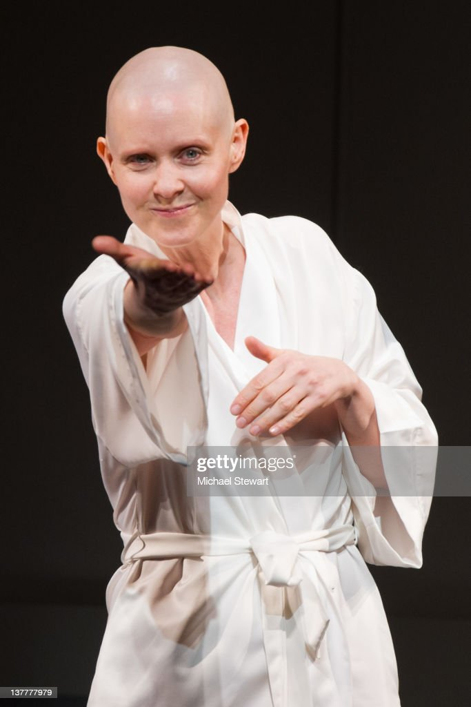 Actress <a gi-track='captionPersonalityLinkClicked' href=/galleries/search?phrase=Cynthia+Nixon&family=editorial&specificpeople=202583 ng-click='$event.stopPropagation()'>Cynthia Nixon</a> onstage during curtain call for the opening night of 'Wit' at the Samuel J. Friedman Theatre on January 26, 2012 in New York City.