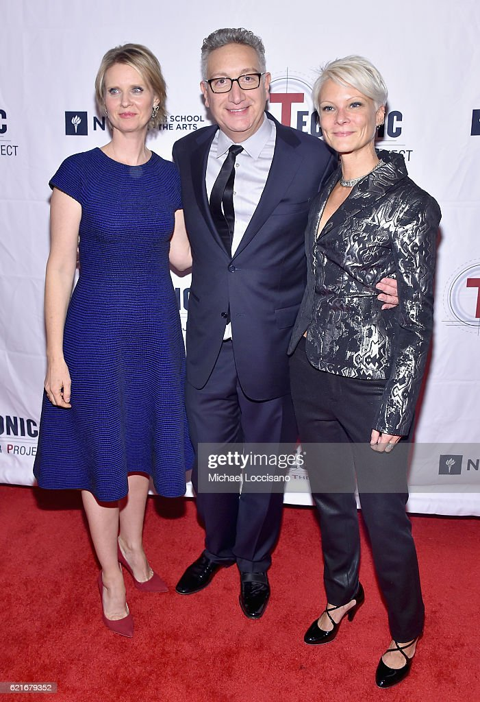 Actress Cynthia Nixon, Playwright Moises Kaufman, and Tectonic Executive Director Lauren Wainwright attend Tectonic At 25! at the NYU Skirball Center on November 7, 2016 in New York City.