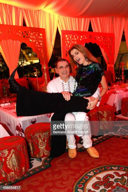 Actress Cyrielle Clair and businessman Michel Corbiere pose during their 1st wedding anniversary at the Aquaboulevard sports complex on December 13...