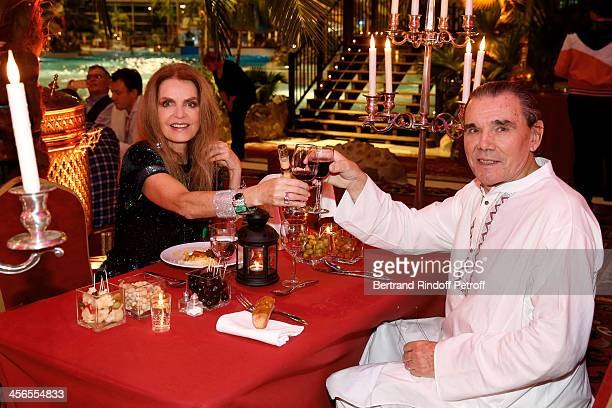 Actress Cyrielle Clair and businessman Michel Corbiere pose during their 1st wedding anniversary party at the Aquaboulevard sports complex on...