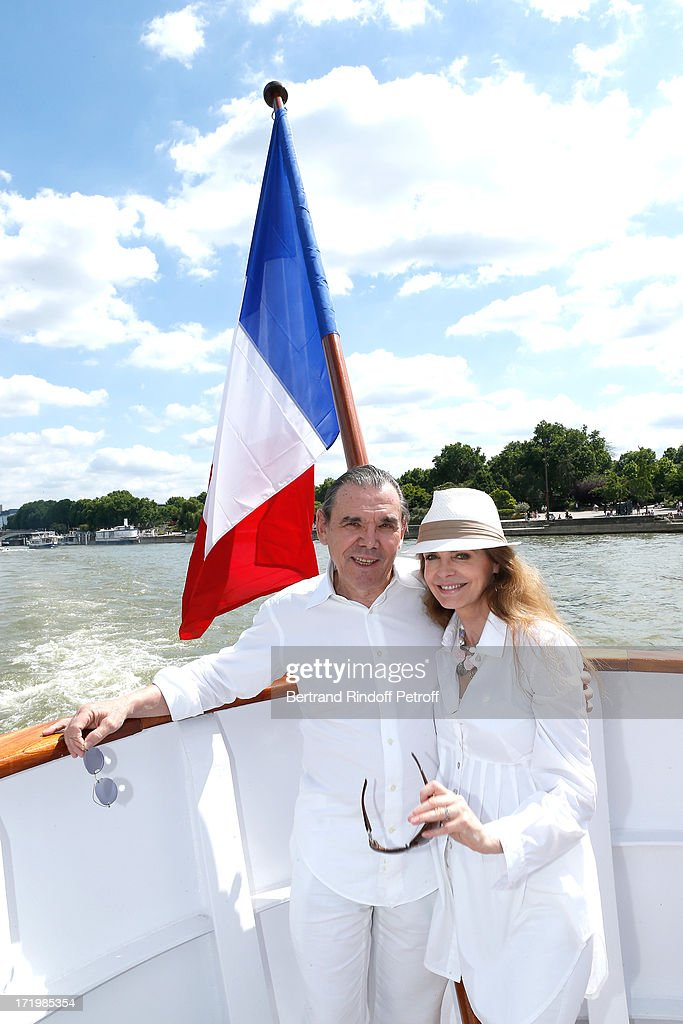 Actress Cyrielle Clair and companion Michel Corbiere attend 'Brunch Blanc' hosted by Groupe Barriere for Sodexho with a cruise in Paris on June 30, 2013, France.