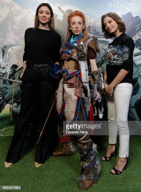 Actress Dafne Fernandez and actress Michelle Jenner attend the 'Horizon Zero Dawn' Playstation new videogame photocall at La Neomudejar on February...