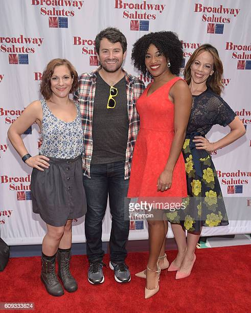 Actress Daisy Eagan actor Alex Brightman actress Rashidra Scott and actress Leslie Kritzer attend the 8th Annual Broadway Salutes celebration at...