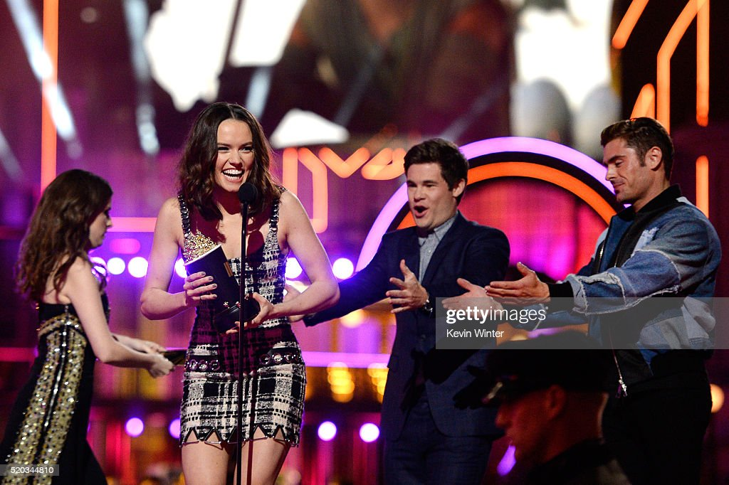 Actress Daisy Ridley accepts the Breakthrough Performance award for 'Star Wars The Force Awakens' from actors Anna Kendrick Adam DeVine and Zac Efron...