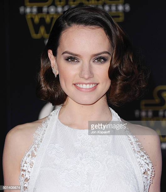 Actress Daisy Ridley arrives at the Los Angeles Premiere 'Star Wars The Force Awakens' on December 14 2015 in Hollywood California