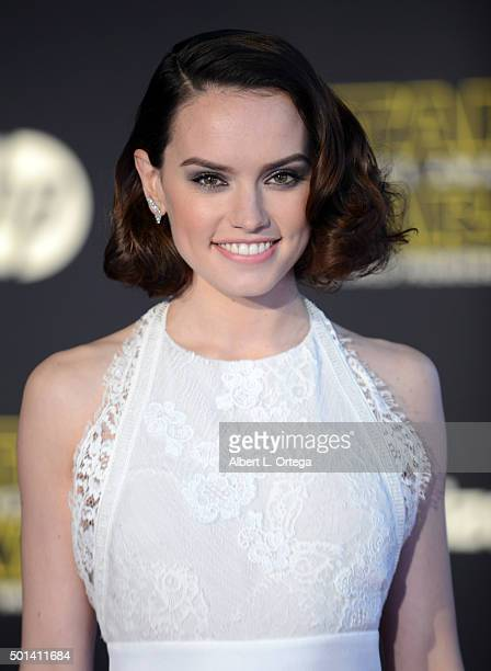Actress Daisy Ridley arrives for the Premiere Of Walt Disney Pictures And Lucasfilm's 'Star Wars The Force Awakens' held on December 14 2015 in...